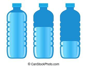 víz, különböző, palack, egyszintű