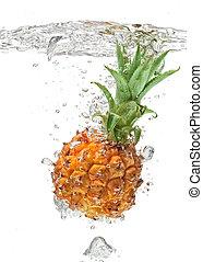 víz, kicsi, esés, fehér, ananász