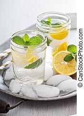 víz, kieszel, hideg, citrom, felfrissítő