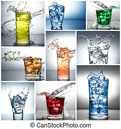 víz, kollázs, loccsanás, pohár