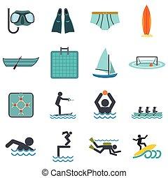 víz, lakás, sport, ikonok