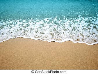 víz, lenget, és, homok