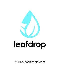 víz letesz, és, levél növényen, jel, ikon