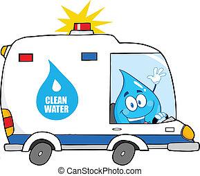 víz letesz, furgon, vezetés, kitakarít