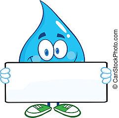 víz letesz, transzparens, birtok