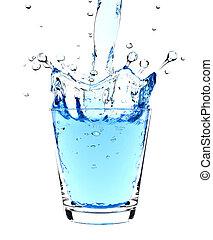 víz, loccsanás, alatt, pohár