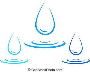 víz, loccsanás, csepp, állhatatos, ikon