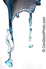 víz, loccsanás, elszigetelt, white.