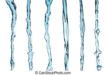 víz, loccsanás, kollázs, alatt, white háttér