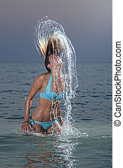 víz, nő, fröcskölő, tropikus
