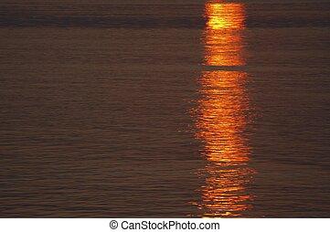 víz, napnyugta, felszín