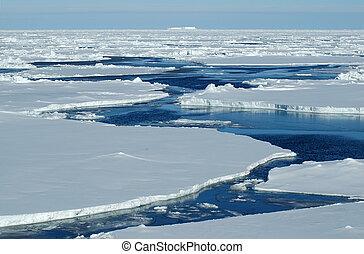 víz, nyílik, jég zsúfolt