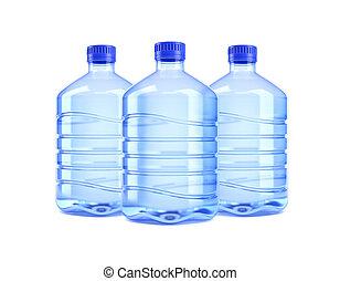 víz palack, fehér, három, háttér