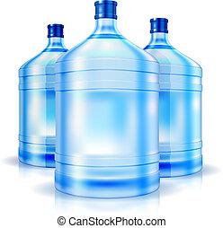 víz palack, hűtőtáska, három, nagy