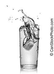 víz pohár, fehér, loccsanás, elszigetelt