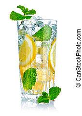 víz pohár, friss, citrom, friss
