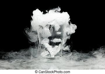 víz pohár, gőz, jég