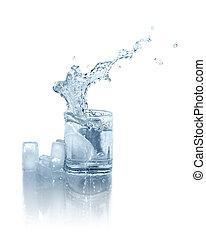 víz pohár, jég