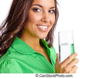 víz pohár, nő