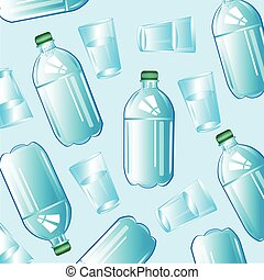 víz pohár, palack
