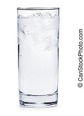 víz pohár, tele, jég