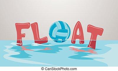 víz, röplabda labda, úszó, ábra