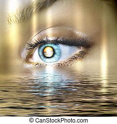 víz, színpadi, szem, felügyelő