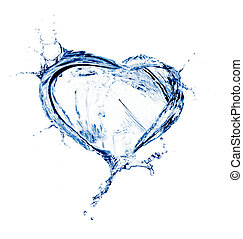 víz, szív, loccsanás