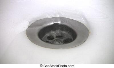 víz, tölcsér, elindít, alatt, fürdőkád