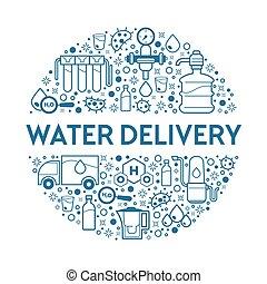 víz, vagy, palack, szolgáltatás, ivás, csereüzlet, felszabadítás, beszerzés, folyékony, gallons