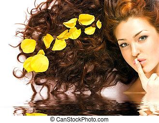víz visszaverődés, leány, red-haired