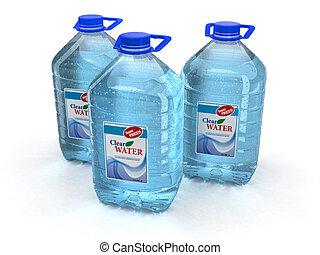 víz, white háttér, palack
