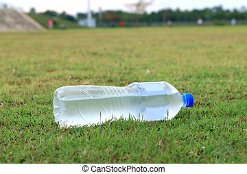 víz, zöld, palack, lawn., műanyag