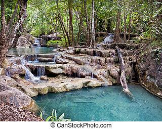 vízesés, alatt, a, dzsungel