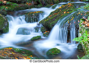 vízesés, alatt, a, nemzeti park, sumava, czech republic
