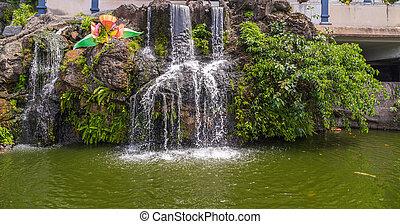 vízesés, alatt, batu, barlang, hegyek, képben látható, a, kuala lumpur, malaysia.