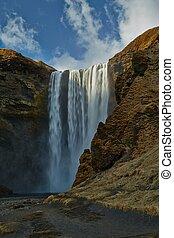 vízesés, alatt, izland