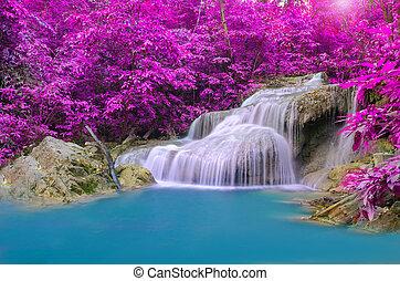 vízesés, alatt, mély, erdő, -ban, erawan, vízesés, nemzeti park