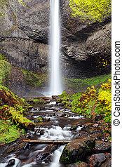 vízesés, alatt, oregon, ősz