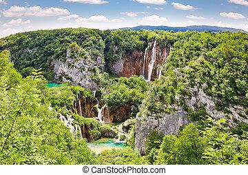 """vízesés, alatt, """"plitvice, lakes"""", nemzeti park, alatt, croatia."""