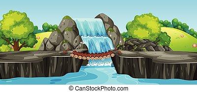 vízesés, alatt, természet parkosít