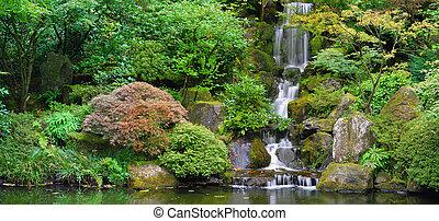 vízesés, -ban, japanese kert, panoráma