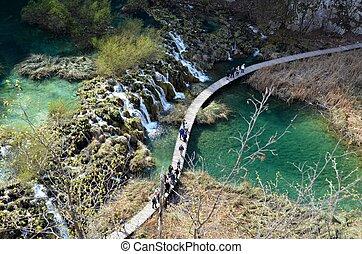 vízesés, -ban, plitvice, tavak, nemzeti park, horvátország