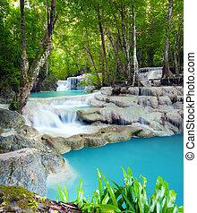 vízesés, erdő, thaiföld, tropikus