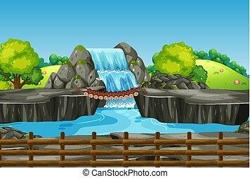 vízesés, fű, színhely