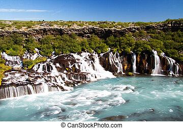 vízesés, izland, hraunfossar
