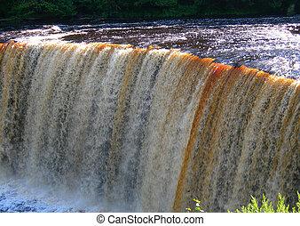 vízesés, képben látható, folyó, alatt, michigan