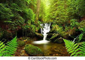 vízesés, képben látható, hegy folyik, alatt, a, cseh,...