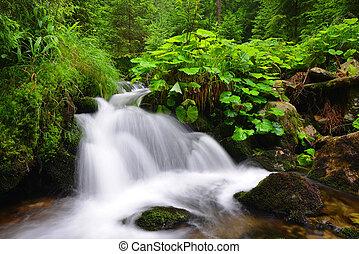 vízesés, képben látható, hegy, stream.