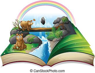 vízesés, könyv